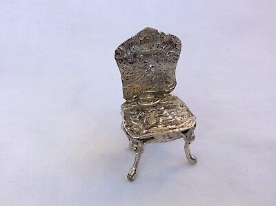 MINIATURE SILVER DUTCH SILVER CHAIR - London import marks for 1894