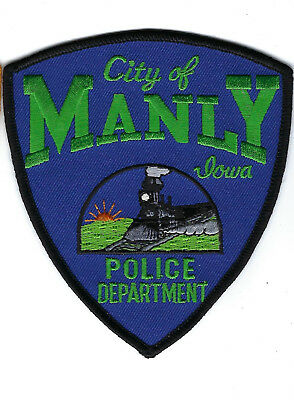 Manly (Worth County) IA Iowa Police Dept. patch - NEW! *Steam Locomotive*