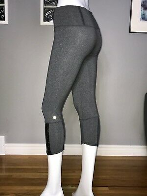 4dc4ed32d8 Lululemon Snap Me Up Crop 4 Heathered Coal Gray Euc Rare High Rise Slim Fit