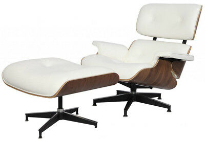 Eames Style Lounge Chair & Ottoman Reproduction Aniline Leather White Walnut