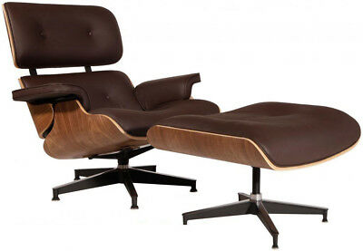 Eames Style Lounge Chair & Ottoman Reproduction Aniline Leather Brown Walnut