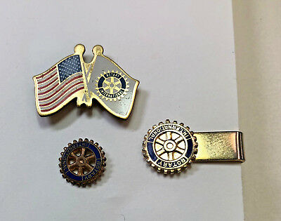 Rotary International Vtg Lot, Tie bar, Enamel Lapel Pin, US flag/Rotary flag Pin