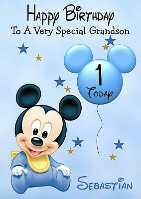 Personalised Birthday Card Mickey Mouse Baby Any Name Age