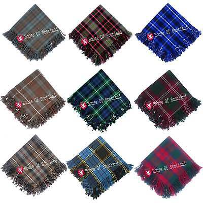 Scottish Highland Kilt Fly Plaids 48''x 48'Various Tartans Purled Fringe Acrylic
