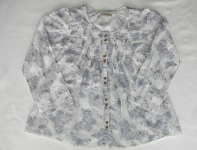 Girls Blue & Cream Next Butterfly Smock Top Size 7 Years