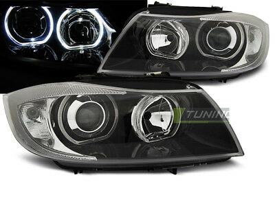 Coppia di Fari Anteriori per BMW Serie 3 E90 E91 2005-2008 LED Angel Eyes Neri I