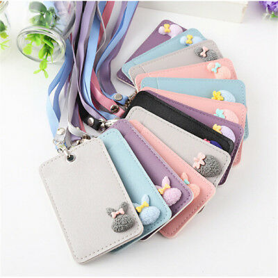 PU Card Holder Student ID Bus Pass Rail Travel Age Work Gym Library With Strap D