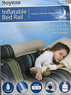 """New Royexe Inflatable Bed Safety Rails 48"""" x 7"""" x 5"""" Pack of 2 rails"""