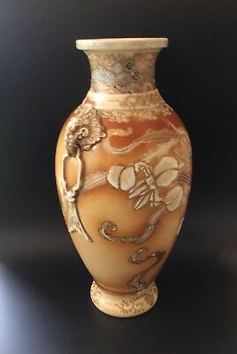 "Signed Antique Japanese Meiji Satsuma 12"" Urn Elephant Handles"