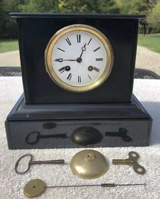 1850's Antique French Mantel Shelf Clock Working Marble Silk String Japy Fils
