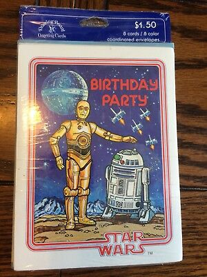 Vintage Star Wars Birthday Invitations - C3PO And R2D2 New in Package