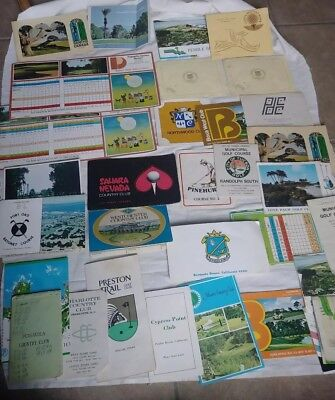 Lot of 30 vintage golf score cards/maps blank and used