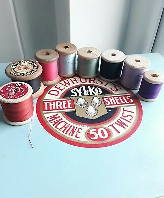 Vintage Lot 8 Spools of Thread Wooden Bobbins Coats/ Clark & Co (3)