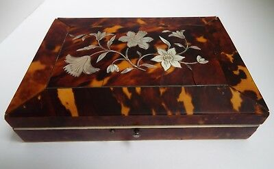 BEAUTIFUL ANTIQUE c1840 FRENCH SILVER SEWING SET IN FINE FAUX TORTOISESHELL CASE