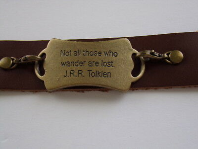 """""""Not all those who wander are lost, Tolkien"""" Inscription  Leather Bracelet"""