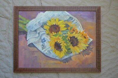 Framed original oil painting Sunflower Bouquet in Newspaper 25 x 32 contemporary