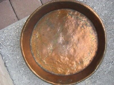 Antique / Primitive Hammered Copper Round Pan