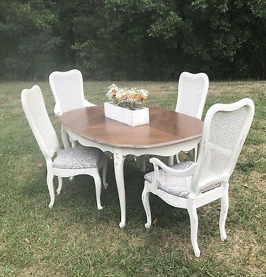 Antique dining Table W/6 Chairs, French Provincial Dining Table And 6 Chair