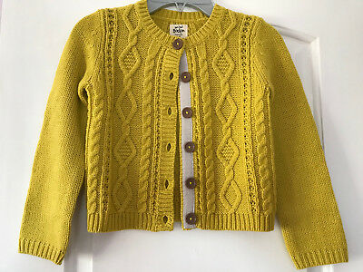 Nwot Mini Boden Girls 5 6y Mustard Yellow Cosy Cable Cardigan