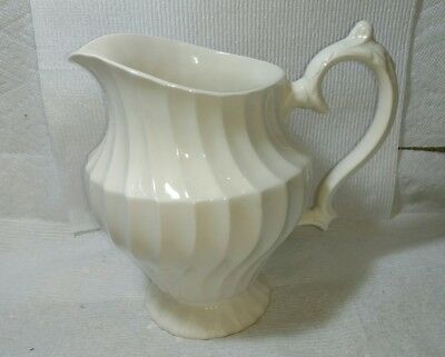Myott Staffordshire of England Old Chelsea Ivory Porcelain Swirl Ribbed Pitcher