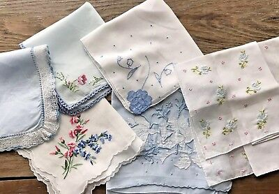 Lot 6 Vintage Blue Swiss Madeira Style Embroidered Lace Hankies Handkerchiefs