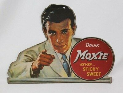 Moxie Soda Cardboard Cutout Advertising Sign Drink Moxie Never... Sticky Sweet s