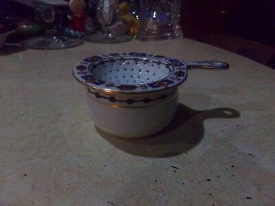 Hand Painted Tea Strainer & Matching Drip Bowl Blue White Gold Geometric Pattern
