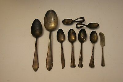 LOT OF 9 Assorted VINTAGE SILVERPLATE FLATWARE German USA Spoons Butter Knife