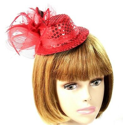 Red Sequin Mini Hat Fascinator Mesh Bow Pearls Feather Spray Society Ladies