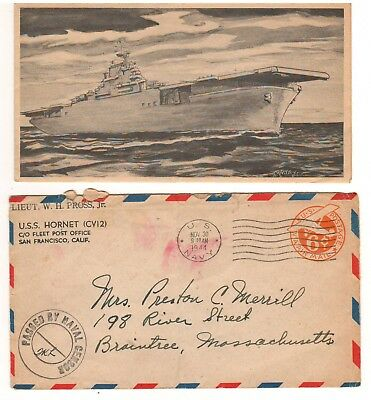 1944 U.S.S. Hornet CV-12 Christmas Card & Envelope; Aircraft Carrier on Card