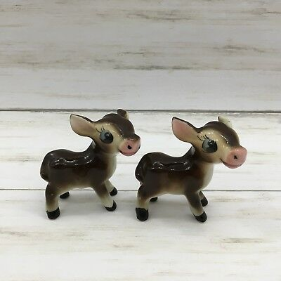 Vintage Japan Ceramic Brown Donkey Mule Figurines Lot of 2