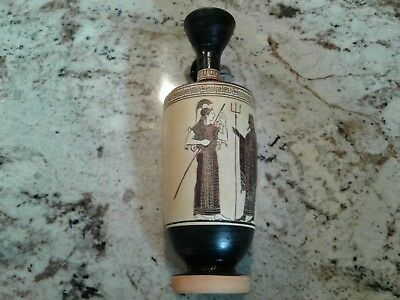 Ancient Greek Black Figured Attic Decorated Museum Replica Reproduction Lekythos