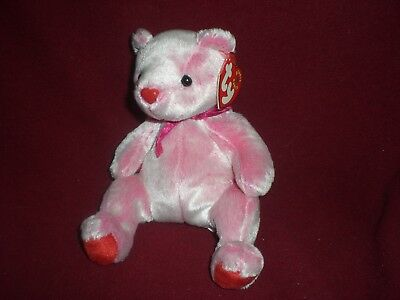 TY BEANIE BABIES BABY ROMANCE THE BEAR PINK RED HEART VALENTINE  w/tag