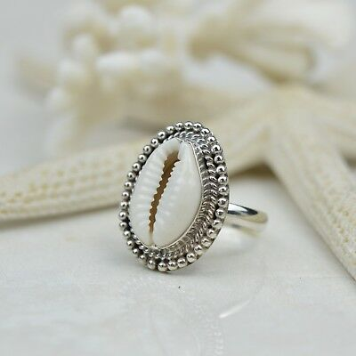 Cowrie Sea Shell Ring Set In Sterling Silver - Shell Ring - Bohemian Ring