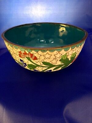 Vintage Cloisonne Rice Bowl with Red & Blue Chrysanthemums and Star Pattern.