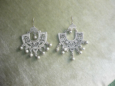 Gorgeous Antique/vintage Silver Handcrafted Earrings/ Wire Pierced