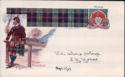 SCOTTISH TARTAN Postcard Clan Malcolm Coat of Arms posted 1903