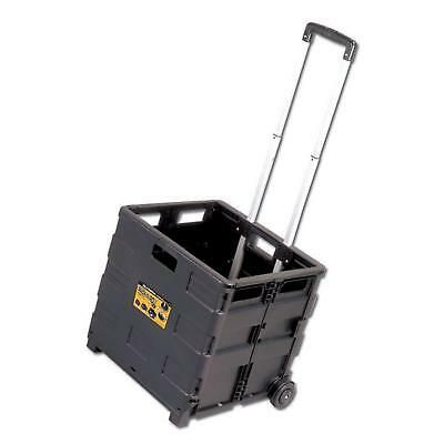 Foldable Black Utility Cart With Telescopic Handle 80 Lb. Load Plastic Trolley