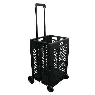 Black Rolling Utility Cart With Telescopic Handle 55 Lb Load Mesh Basket Trolley