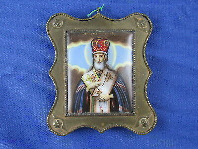 Antique 19c finift enamel icon miniature St. Innocent of Irkutsk Russian