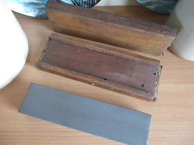 Vintage Tool Large Sharpening Oil Stone in Wooden Box