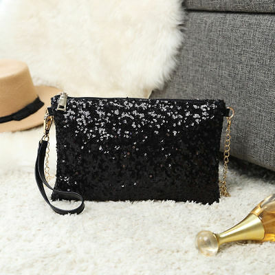 Bling Sequins Evening Clutch Purse Hand Bags Cross Body Chain Shoulder Bag Women