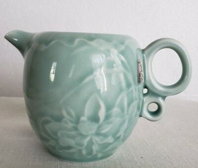 VTG Asian Chinese Japanese Celadon green flowers Tea creamer stamped marked