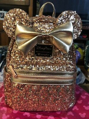 Disney Parks Minnie Mouse Ears Rose Gold Loungefly Backpack NWT