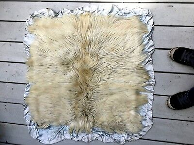 Antique vtg satin baby coverlet blanket backed with goat fur Victorian unusual!
