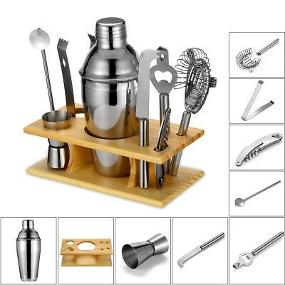 9Pcs Cocktail Shaker Set with Bamboo Stand Stainless Steel Bartender Kit 550ml