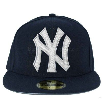 New Era MLB 59Fifty Mighty Stitch NY new York Yankees Fitted Baseball Cap b030085f471