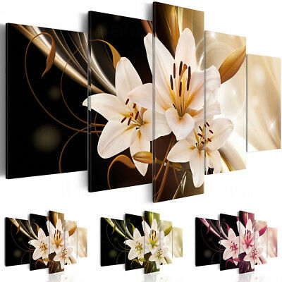 Yellow Green Pink Lilies Blossom Prints Canvas Painting 5 Pcs Flowers Wall Art