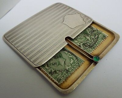 Lovely Rare English Antique 1911 Sterling Silver Slide Action Double Stamp Case