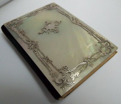 Superb Rare French Antique Solid Silver & Mother Of Pearl Aide Memoire Card Case